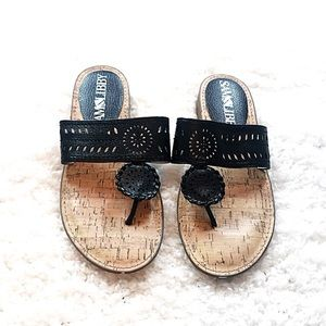 Sam & Libby black perforated thong sandals